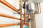 image of boiler  - copper pipes engineering in boiler - JPG