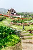 foto of royal botanic gardens  - Traditional thai architecture in the Lanna style Royal Pavilion  - JPG