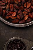 stock photo of cocoa beans  - roasted cocoa chocolate beans in Vintage tin and chocolate in baking tin  on metalbackground - JPG