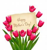 picture of happy day  - Red tulips with Happy Mother - JPG