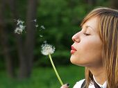 stock photo of blow-up  - Teenage girl outdoors blowing up a dandelion - JPG