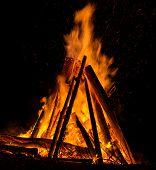 picture of bonfire  - Big bonfire against dark night sky - JPG