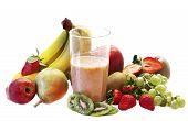 picture of fruit shake  - milk shake withfresh  fruits selection over white - JPG