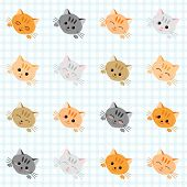 pic of kawaii  - Seamless illustration with cute cats - JPG