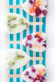 image of popsicle  - Homemade frozen popsicles with yogurt and fresh fruits - JPG