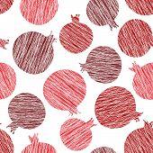 stock photo of pomegranate  - Pomegranate vector pattern - JPG