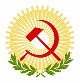 stock photo of hammer sickle  - red sickle and hammer with sun and branches of laurels - JPG