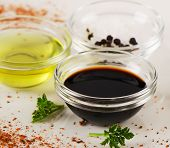 image of vinegar  - Bowl of Balsamic vinegar salt and olive oil - JPG
