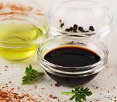 foto of salt-bowl  - Bowl of Balsamic vinegar salt and olive oil - JPG
