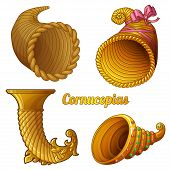 picture of cornucopia  - Set of empty cornucopias - JPG