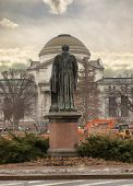 picture of nationalism  - Statue of Joseph Henry overlooking the Smithsonian National Museum of Natural History across the National Mall Washington DC - JPG