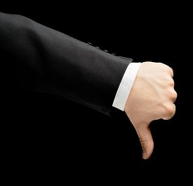 pic of dislike  - Caucasian male hand in a business suit - JPG