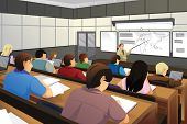 pic of professor  - A vector illustration of college students in class with professor teaching - JPG