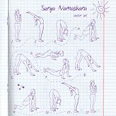 Постер, плакат: Vector yoga illustration Surya Namaskara