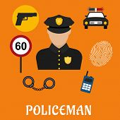 stock photo of handcuff  - Policeman profession concept with officer in black uniform surrounded by police car - JPG