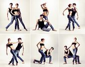 picture of leg-split  - Couple of modern ballet dancers in jeans - JPG