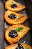 pic of french-toast  - Homemade french toast with jam and fresh mint - JPG