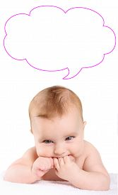 foto of teething baby  - blond baby teething bites hand comment bubble - JPG