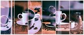Постер, плакат: Hot coffee Coffee grinder turk and cup of hot coffee with coffee beans and saucer on a brown table