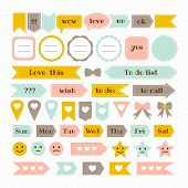 Collection Of Various Note Papers With Different Tape Strips. Cute Design Elements. Template For Not poster
