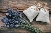 Bouquet Of Dry Lavender Flowers And Sachets Filled With Dried Lavender. Top View. Flat Lay. Retro To poster