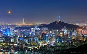 Seoul City Skyline And N Seoul Tower In Seoul, South Korea poster