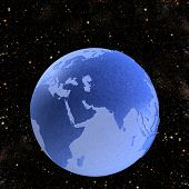 picture of eastern hemisphere  - Illustration of a Blue Marble Earth Globe on a starfield in space - JPG