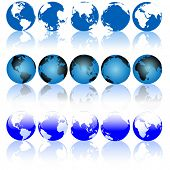 image of eastern hemisphere  - Collection of Blue Earth Globes with Shiny Reflections - JPG