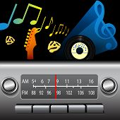 DJ drive time on a retro AM FM Dashboard Radio. Gold notes for golden oldies, blue music symbol for