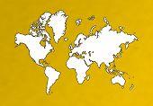 Detailed World Map On Orange Background poster