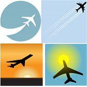 Постер, плакат: Взлет с этим набором из четырех авиакомпания путешествия пассажирский самолет аэропорт значки и символы