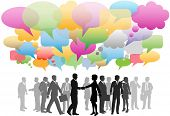 image of person silhouette  - Business social media people network in a cloud of company speech bubbles colors - JPG