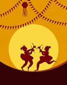 stock photo of navratri  - Shadow art graba dancer - JPG