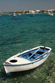 Постер, плакат: Гребные лодки в гавани