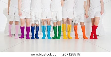 Kids Wearing Colorful Rainbow Socks