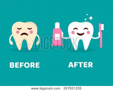 Teeth Care Concept Before And