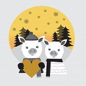 Two Cute Pigs In Love. Pig Boy And Pig Girl Standing In A Winter Forest. Pig Boy Holding Big Gold He poster