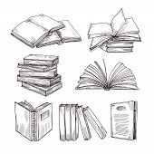 Sketch Books. Ink Drawing Vintage Open Book And Books Pile. School Education And Library Doodle Vect poster