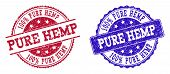 Grunge Pure Hemp Seal Stamps In Blue And Red Colors. Stamps Have Draft Texture. Vector Rubber Imitat poster
