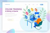 Isometric Web Banner Online Training Or Education And Internet Training Courses Concept. Landing Pag poster