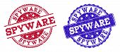 Grunge Spyware Seal Stamps In Blue And Red Colors. Stamps Have Distress Style. Vector Rubber Imitati poster