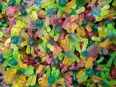 Candies With Jelly And Sugar. Colourful Array Of Different Child Sweets And Treats. Bright Party Bac poster