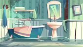 Flooded Bathroom In Old Apartments Or House Cartoon Vector Illustration With Vintage Bathtub, Shabby poster