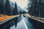 Perfect Asphalt Mountain Road In Overcast Rainy Day In Dolomites poster