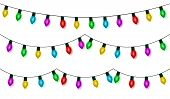 Christmas Lights String Set Vector, Color Garland Collection, Isolated On White. Garland Hanging, Ol poster