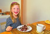 Little Girl Smiling On Her Birthday. Small Girl Celebrating  Her Six Birthday. Birthday Cake And Lit poster