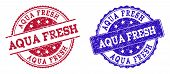 Grunge Aqua Fresh Seal Stamps In Blue And Red Colors. Stamps Have Distress Texture. Vector Rubber Im poster