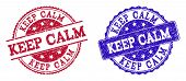Grunge Keep Calm Seal Stamps In Blue And Red Colors. Stamps Have Draft Surface. Vector Rubber Imitat poster