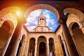 Euphrasian Basilica In Porec Arcades And Tower Sun Haze View, Unesco World Heritage Site In Istria,  poster
