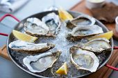 Fresh oysters with lemons slices in ice. Restaurant delicacy, beautiful table setting. Saltwater oy poster